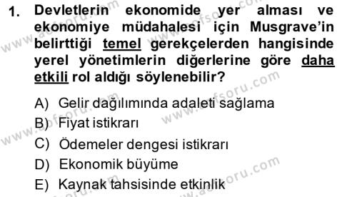 Yerel Yönetimler Bölümü 4. Yarıyıl Mahalli İdareler Maliyesi Dersi 2014 Yılı Bahar Dönemi Ara Sınavı 1. Soru