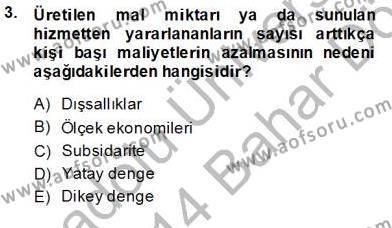 Yerel Yönetimler Bölümü 4. Yarıyıl Mahalli İdareler Maliyesi Dersi 2014 Yılı Bahar Dönemi Dönem Sonu Sınavı 3. Soru