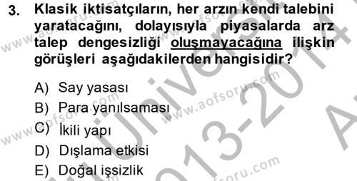 Maliye Politikası Dersi 2013 - 2014 Yılı (Vize) Ara Sınav Soruları 3. Soru