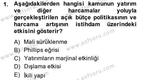 Maliye Politikası Dersi 2013 - 2014 Yılı (Final) Dönem Sonu Sınav Soruları 1. Soru
