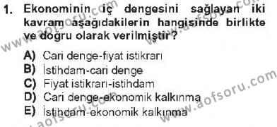 Maliye Politikası 1 Dersi 2012 - 2013 Yılı Tek Ders Sınavı 1. Soru