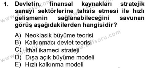 Maliye Politikası 2 Dersi 2012 - 2013 Yılı Ara Sınavı 1. Soru
