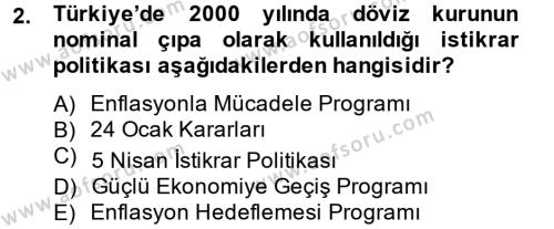 Maliye Politikası 2 Dersi 2013 - 2014 Yılı Tek Ders Sınavı 2. Soru