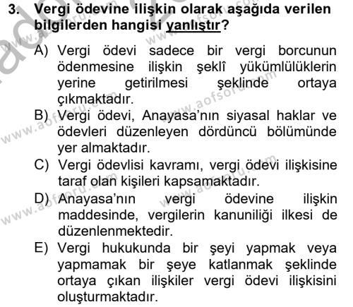Maliye Bölümü 8. Yarıyıl Vergi Yargılaması Hukuku Dersi 2013 Yılı Bahar Dönemi Ara Sınavı 3. Soru