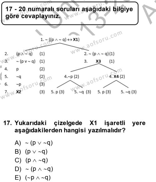 Sembolik Mantık Dersi Ara Sınavı Deneme Sınav Soruları 17. Soru