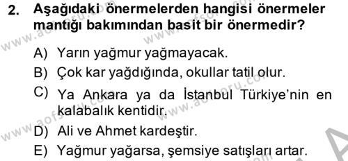 Sembolik Mantık Dersi 2013 - 2014 Yılı Dönem Sonu Sınavı 2. Soru