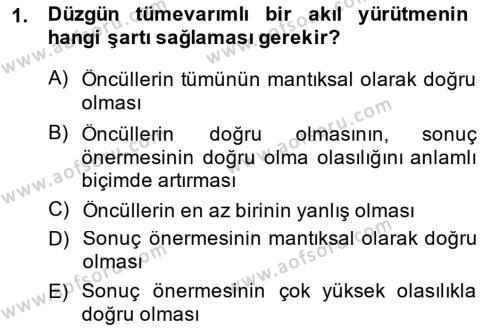 Sembolik Mantık Dersi 2014 - 2015 Yılı Ara Sınavı 1. Soru