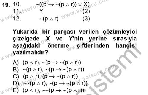 Sembolik Mantık Dersi Ara Sınavı Deneme Sınav Soruları 19. Soru