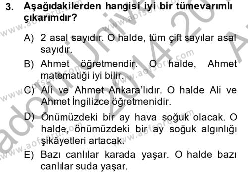 Sembolik Mantık Dersi 2014 - 2015 Yılı Ara Sınavı 3. Soru