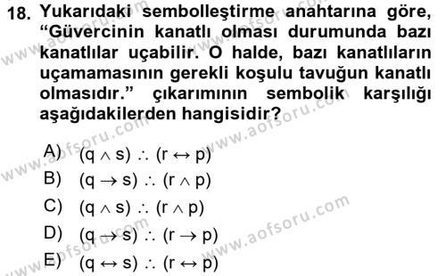 Sembolik Mantık Dersi Ara Sınavı Deneme Sınav Soruları 18. Soru