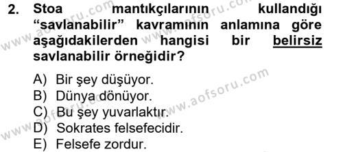 Mantığın Gelişimi Dersi 2012 - 2013 Yılı (Final) Dönem Sonu Sınav Soruları 2. Soru