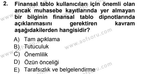 Perakende Satış ve Mağaza Yöneticiliği Bölümü 1. Yarıyıl Genel Muhasebe Dersi 2013 Yılı Güz Dönemi Ara Sınavı 2. Soru