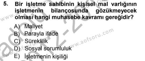 Perakende Satış ve Mağaza Yöneticiliği Bölümü 1. Yarıyıl Genel Muhasebe Dersi 2013 Yılı Güz Dönemi Ara Sınavı 5. Soru