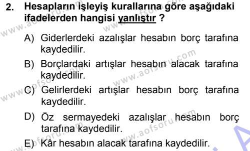 Spor Yönetimi Bölümü 1. Yarıyıl Genel Muhasebe Dersi 2013 Yılı Güz Dönemi Dönem Sonu Sınavı 2. Soru
