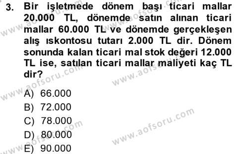 Genel Muhasebe Dersi 2014 - 2015 Yılı (Final) Dönem Sonu Sınavı 3. Soru