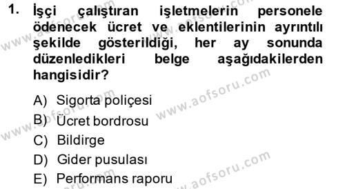 Ön Muhasebe Yazılımları Ve Kullanımı Dersi 2014 - 2015 Yılı (Final) Dönem Sonu Sınavı 1. Soru