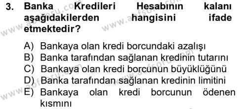 Maliye Bölümü 2. Yarıyıl Genel Muhasebe II Dersi 2013 Yılı Bahar Dönemi Dönem Sonu Sınavı 3. Soru
