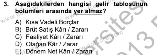 Bankacılık ve Sigortacılık Bölümü 4. Yarıyıl Mali Analiz Dersi 2013 Yılı Bahar Dönemi Ara Sınavı 3. Soru