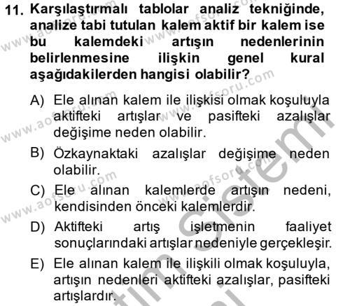 Mali Analiz Dersi Ara Sınavı Deneme Sınav Soruları 11. Soru