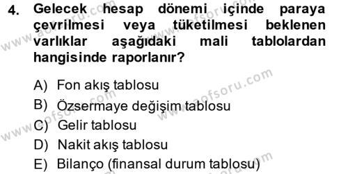 Bankacılık ve Sigortacılık Bölümü 4. Yarıyıl Mali Analiz Dersi 2014 Yılı Bahar Dönemi Ara Sınavı 4. Soru