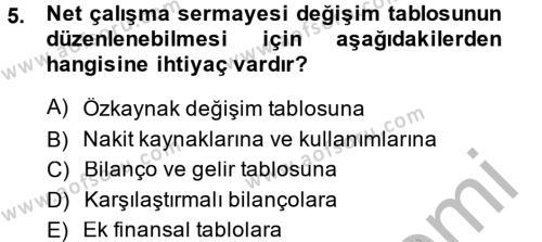 Bankacılık ve Sigortacılık Bölümü 4. Yarıyıl Mali Analiz Dersi 2014 Yılı Bahar Dönemi Ara Sınavı 5. Soru
