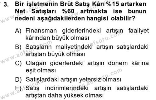 Mali Analiz Dersi 2013 - 2014 Yılı Dönem Sonu Sınavı 3. Soru