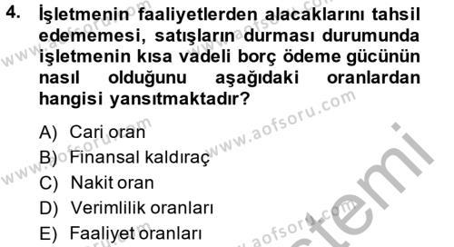 Mali Analiz Dersi 2013 - 2014 Yılı Dönem Sonu Sınavı 4. Soru