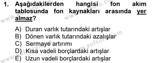 Bankacılık ve Sigortacılık Bölümü 4. Yarıyıl Mali Analiz Dersi 2014 Yılı Bahar Dönemi Tek Ders Sınavı 1. Soru