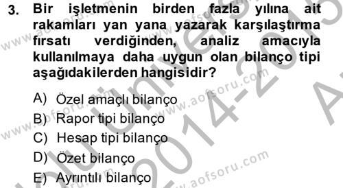 Mali Analiz Dersi 2014 - 2015 Yılı (Vize) Ara Sınavı 3. Soru