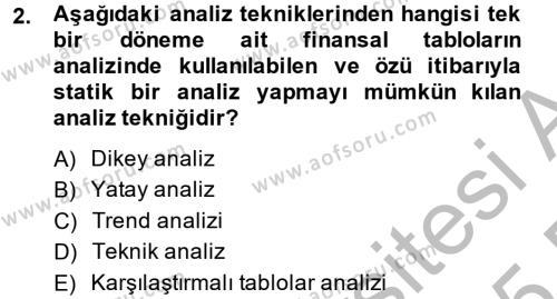 Mali Analiz Dersi 2014 - 2015 Yılı (Final) Dönem Sonu Sınavı 2. Soru