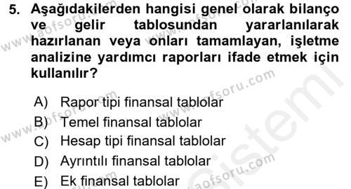 Bankacılık ve Sigortacılık Bölümü 4. Yarıyıl Mali Analiz Dersi 2016 Yılı Bahar Dönemi Ara Sınavı 5. Soru