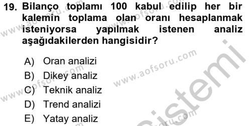 Mali Analiz Dersi Ara Sınavı Deneme Sınav Soruları 19. Soru