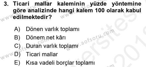 Mali Analiz Dersi 2017 - 2018 Yılı (Vize) Ara Sınav Soruları 3. Soru