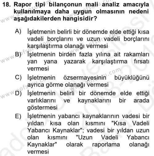Mali Analiz Dersi Ara Sınavı Deneme Sınav Soruları 18. Soru