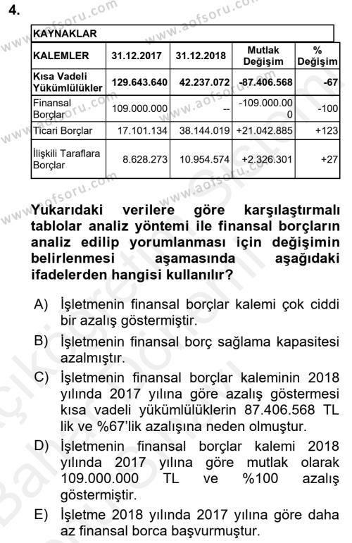 Mali Analiz Dersi 2018 - 2019 Yılı (Final) Dönem Sonu Sınav Soruları 4. Soru