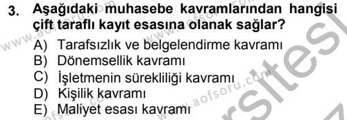 Envanter ve Bilanço Dersi 2012 - 2013 Yılı Ara Sınavı 3. Soru