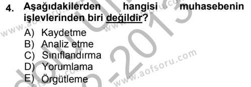 Envanter ve Bilanço Dersi 2012 - 2013 Yılı Ara Sınavı 4. Soru