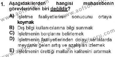 Maliye Bölümü 3. Yarıyıl Envanter ve Bilanço Dersi 2013 Yılı Güz Dönemi Tek Ders Sınavı 1. Soru