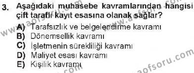 Maliye Bölümü 3. Yarıyıl Envanter ve Bilanço Dersi 2013 Yılı Güz Dönemi Tek Ders Sınavı 3. Soru