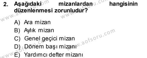 Maliye Bölümü 3. Yarıyıl Envanter ve Bilanço Dersi 2014 Yılı Güz Dönemi Ara Sınavı 2. Soru