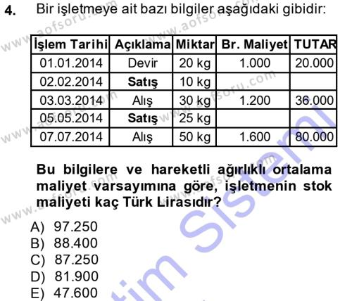Maliye Bölümü 3. Yarıyıl Envanter ve Bilanço Dersi 2014 Yılı Güz Dönemi Dönem Sonu Sınavı 4. Soru
