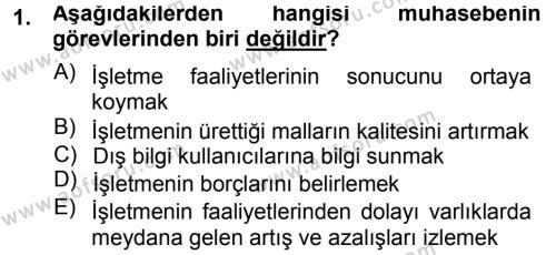 Maliye Bölümü 3. Yarıyıl Envanter ve Bilanço Dersi 2015 Yılı Güz Dönemi Ara Sınavı 1. Soru