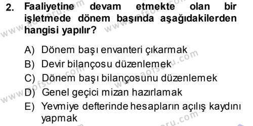 Maliye Bölümü 3. Yarıyıl Envanter ve Bilanço Dersi 2015 Yılı Güz Dönemi Ara Sınavı 2. Soru