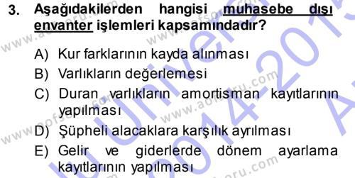 Maliye Bölümü 3. Yarıyıl Envanter ve Bilanço Dersi 2015 Yılı Güz Dönemi Ara Sınavı 3. Soru