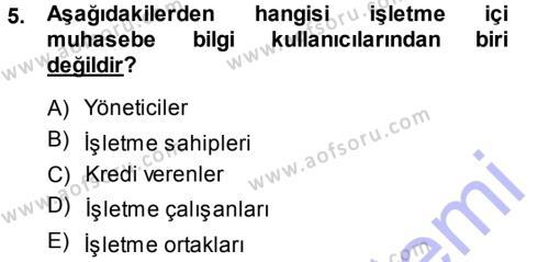 Maliye Bölümü 3. Yarıyıl Envanter ve Bilanço Dersi 2015 Yılı Güz Dönemi Ara Sınavı 5. Soru