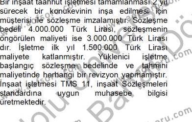 İnşaat ve Gayrimenkul Muhasebesi Dersi 2012 - 2013 Yılı Dönem Sonu Sınavı 3. Soru