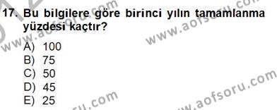 İnşaat ve Gayrimenkul Muhasebesi Dersi 2012 - 2013 Yılı Dönem Sonu Sınavı 4. Soru