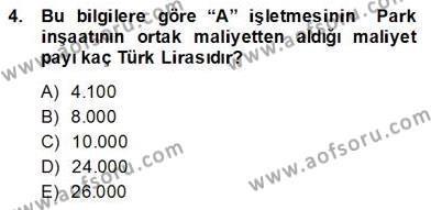 İnşaat ve Gayrimenkul Muhasebesi Dersi 2013 - 2014 Yılı Dönem Sonu Sınavı 4. Soru