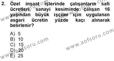 İnşaat ve Gayrimenkul Muhasebesi Dersi 2013 - 2014 Yılı Tek Ders Sınavı 2. Soru