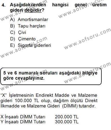İnşaat ve Gayrimenkul Muhasebesi Dersi 2014 - 2015 Yılı Dönem Sonu Sınavı 4. Soru